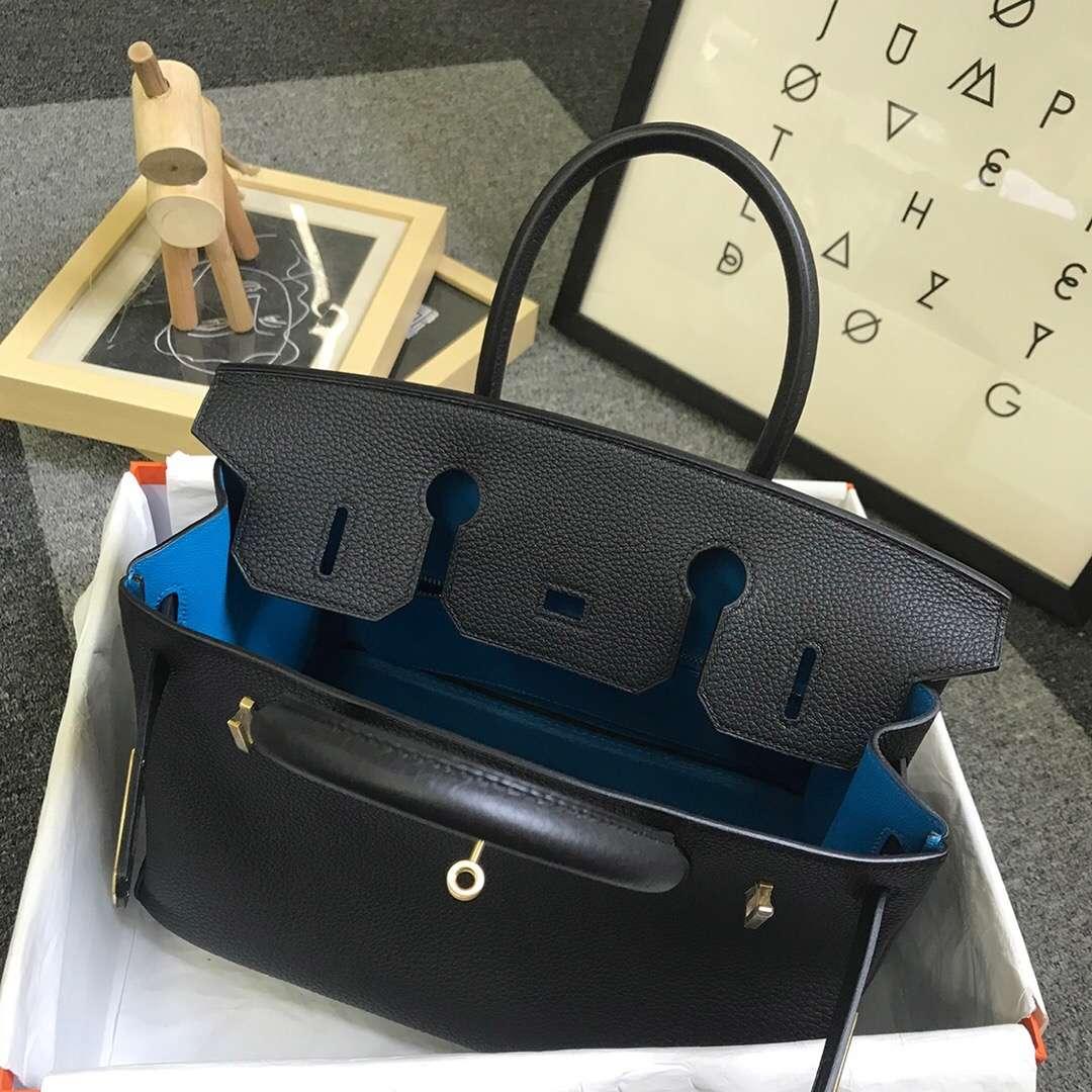 Hermès(爱马仕)黑色内拼B3坦桑尼亚蓝 原厂御用顶级小牛皮 Birkin 30 金扣