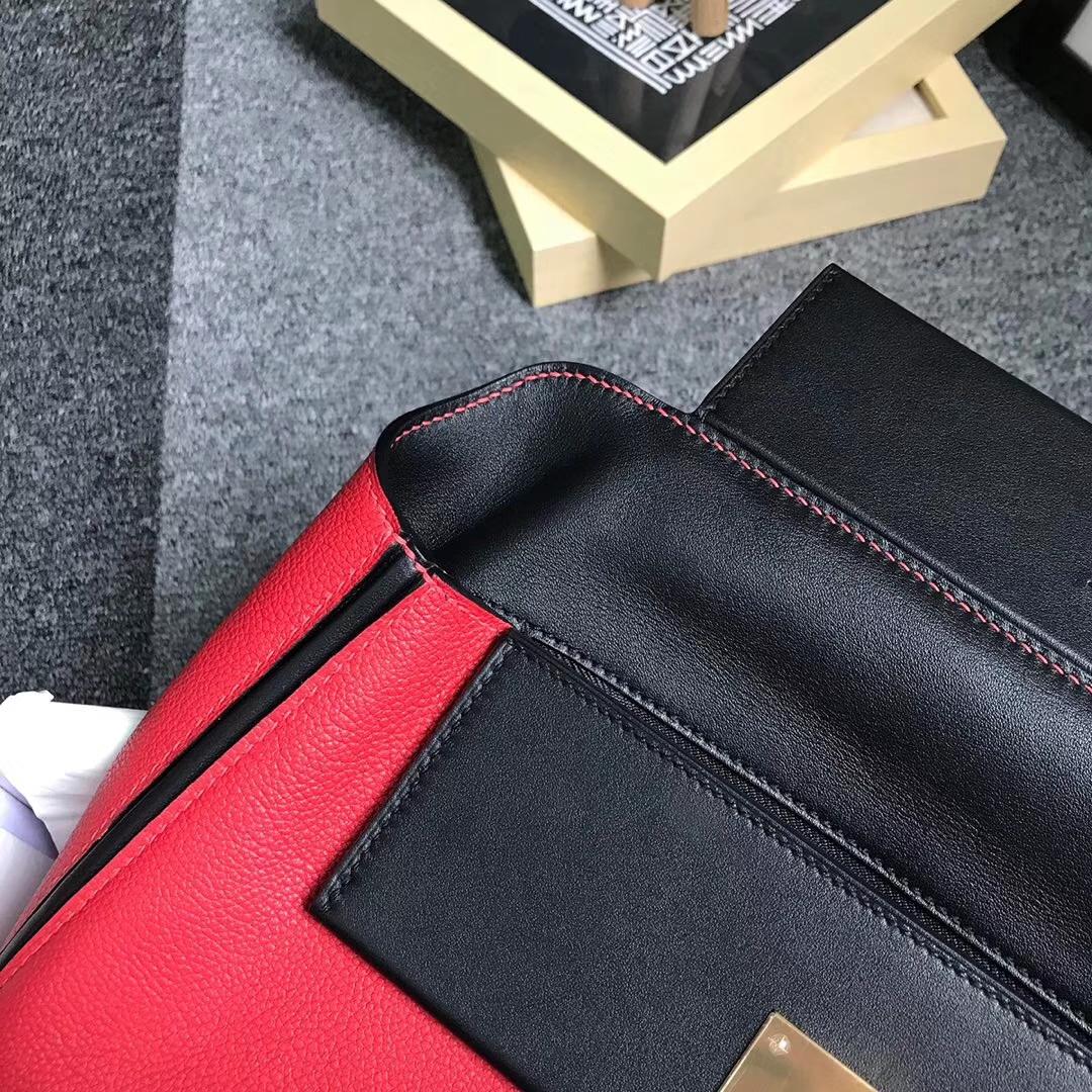 Hermès(爱马仕)中国红拼黑色 原厂御用顶级小牛皮拼Swift 皮 2424 金扣 现货