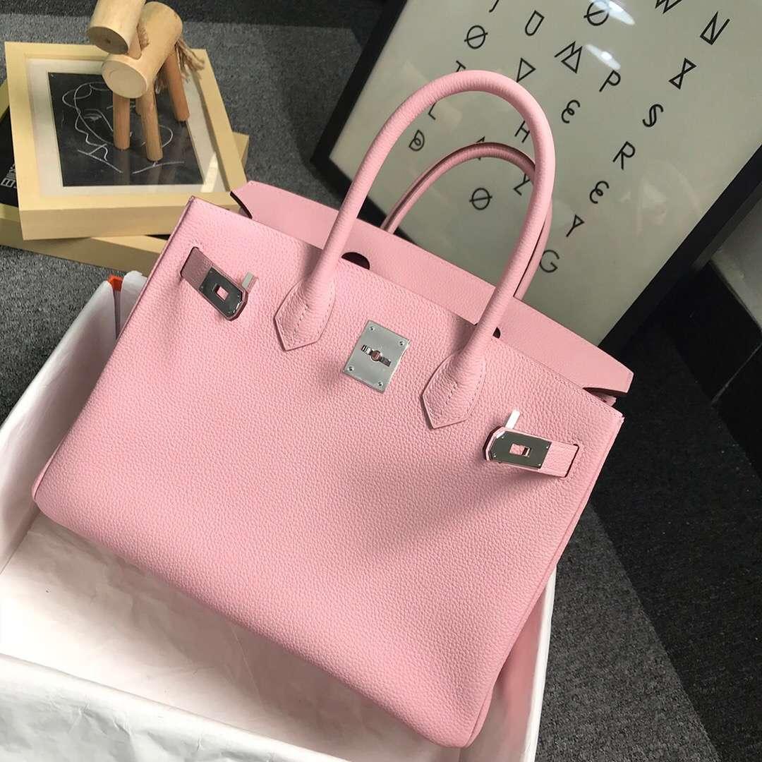 Hermès(爱马仕)3Q新樱花粉 原厂御用顶级小牛皮 Birkin 30 银扣 现货