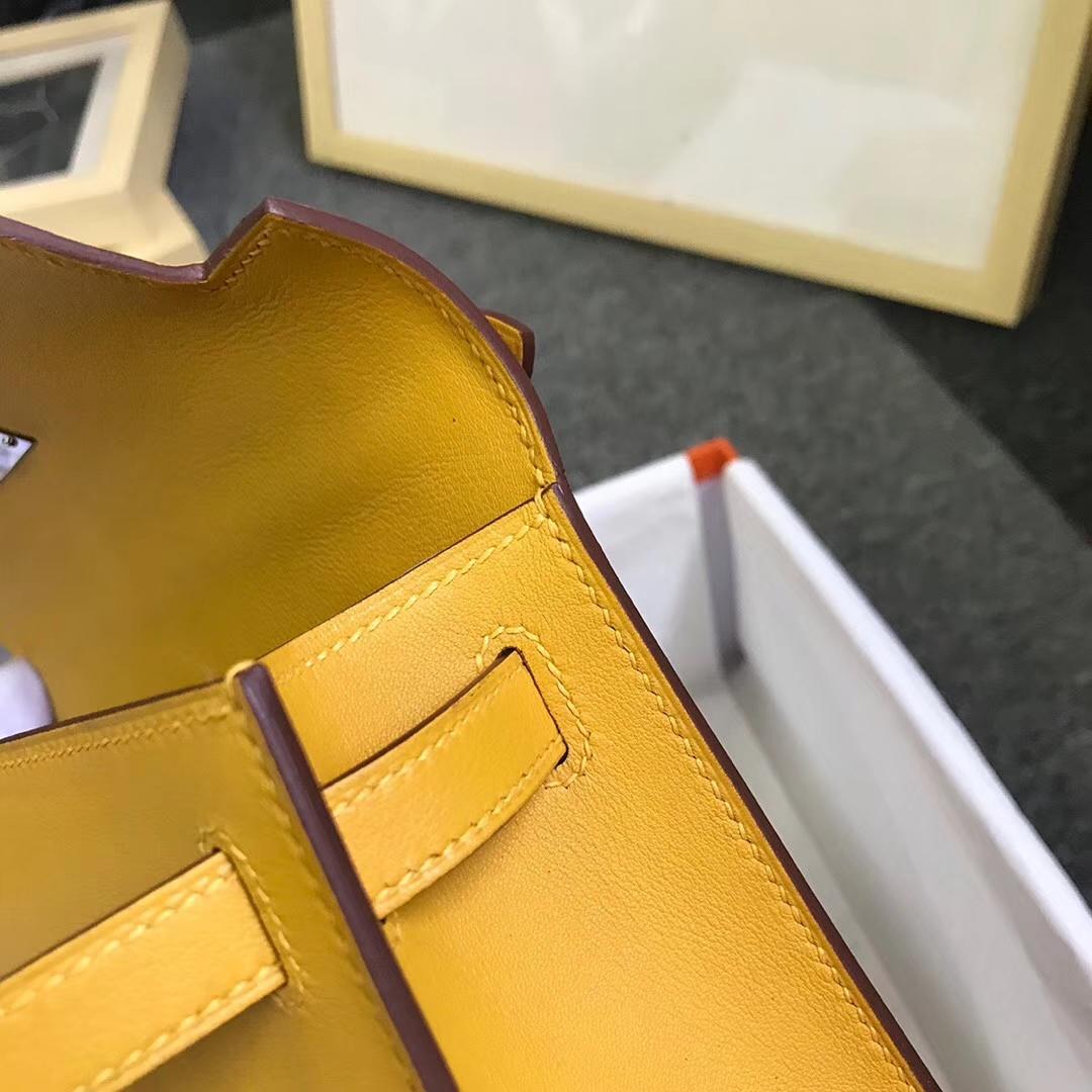 Hermès(爱马仕)9D琥珀黄 原厂御用顶级Swift 皮 Mini Kelly 银扣 现货