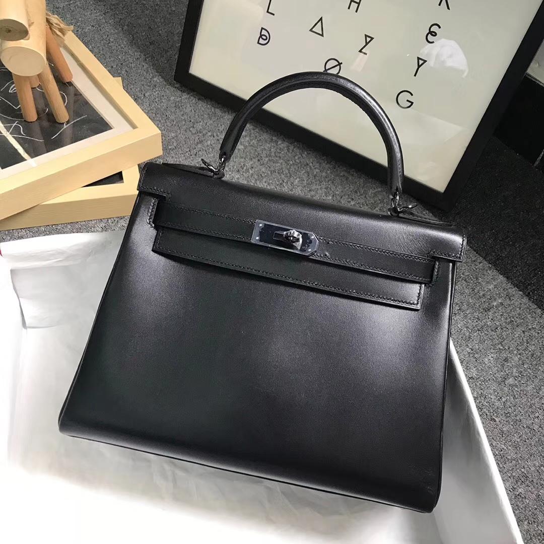 Hermès(爱马仕)CK89 黑色 原厂御用顶级Box 皮 Kelly 28 内缝 黑扣