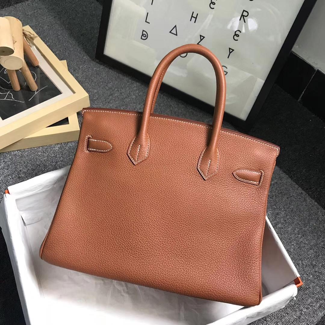 Hermès(爱马仕)金棕色 原厂御用顶级小牛皮 Birkin 30 银扣 现货