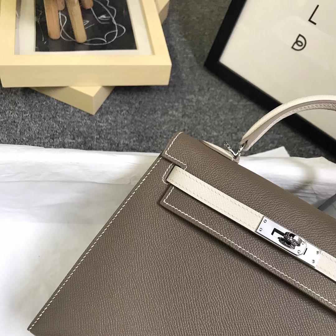 Hermès(爱马仕)CK18大象灰拼奶昔白 原厂御用顶级Epsom 皮 Kelly 25 外缝 银扣