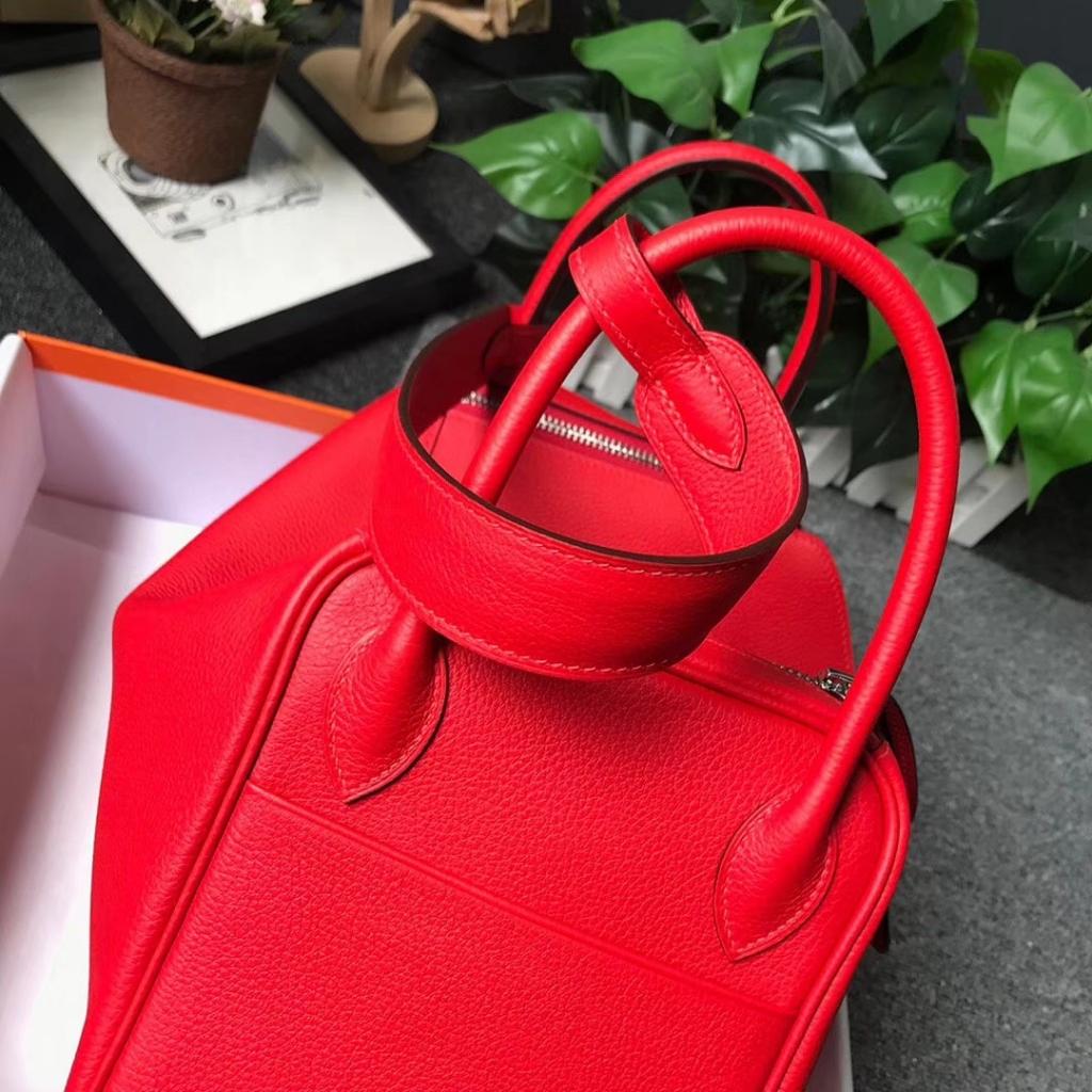 Hermès(爱马仕)S5 番茄红 原厂御用顶级小牛皮 Lindy 30 银扣