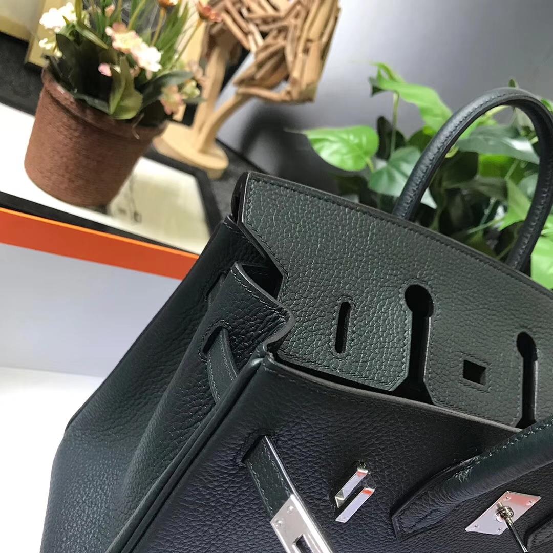 Hermès(爱马仕)柏树绿 原厂御用顶级小牛皮 Birkin 25 银扣 现货