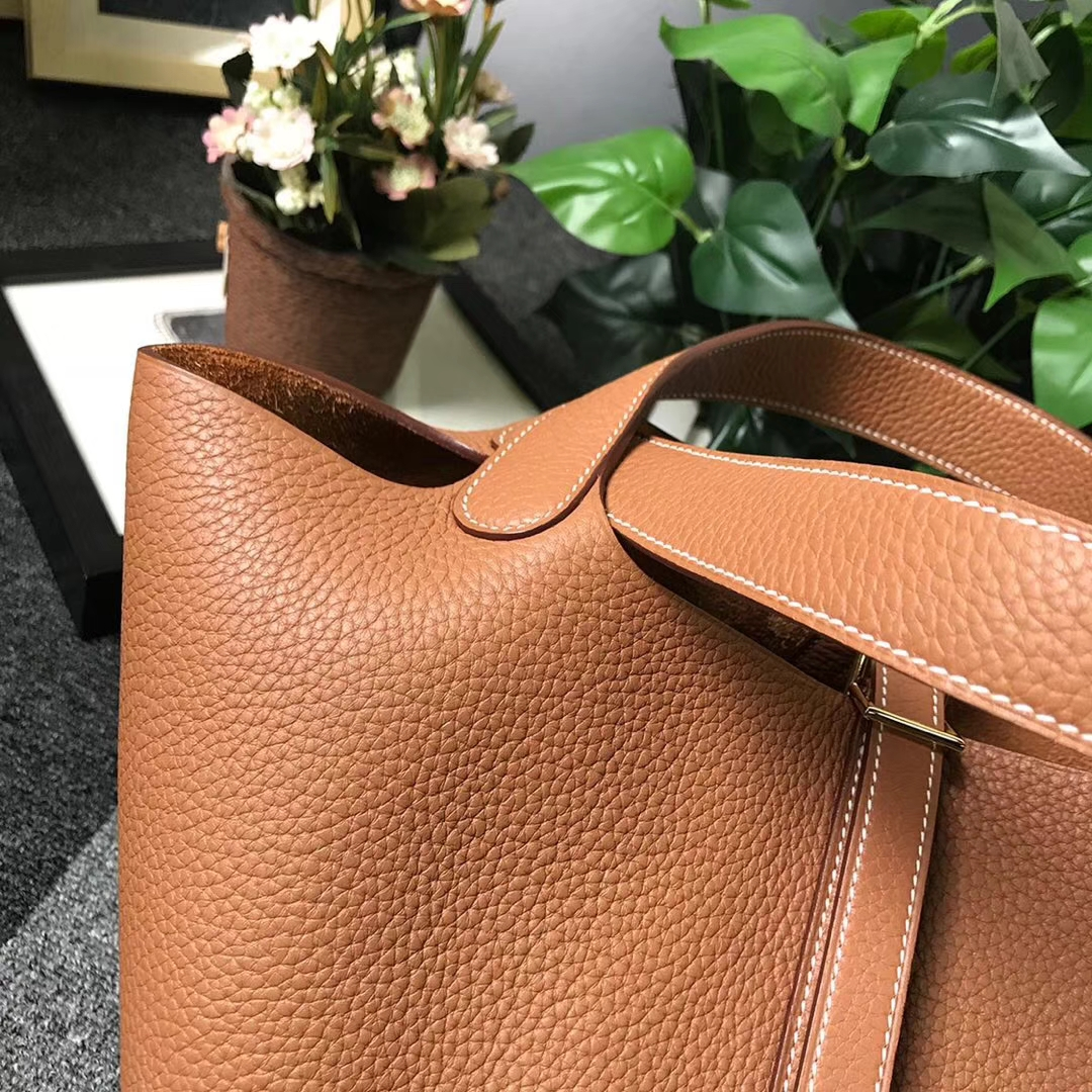 Hermès(爱马仕)金棕色 原厂御用顶级TC 皮 Picotin  Lock 22cm 金扣 现货