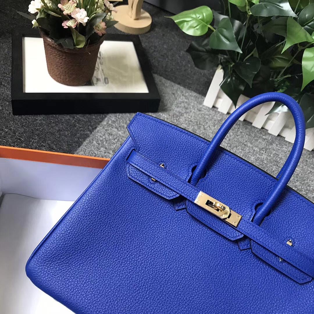 Hermès(爱马仕)琉璃蓝 原厂御用顶级小牛皮 Birkin 25 金扣 现货