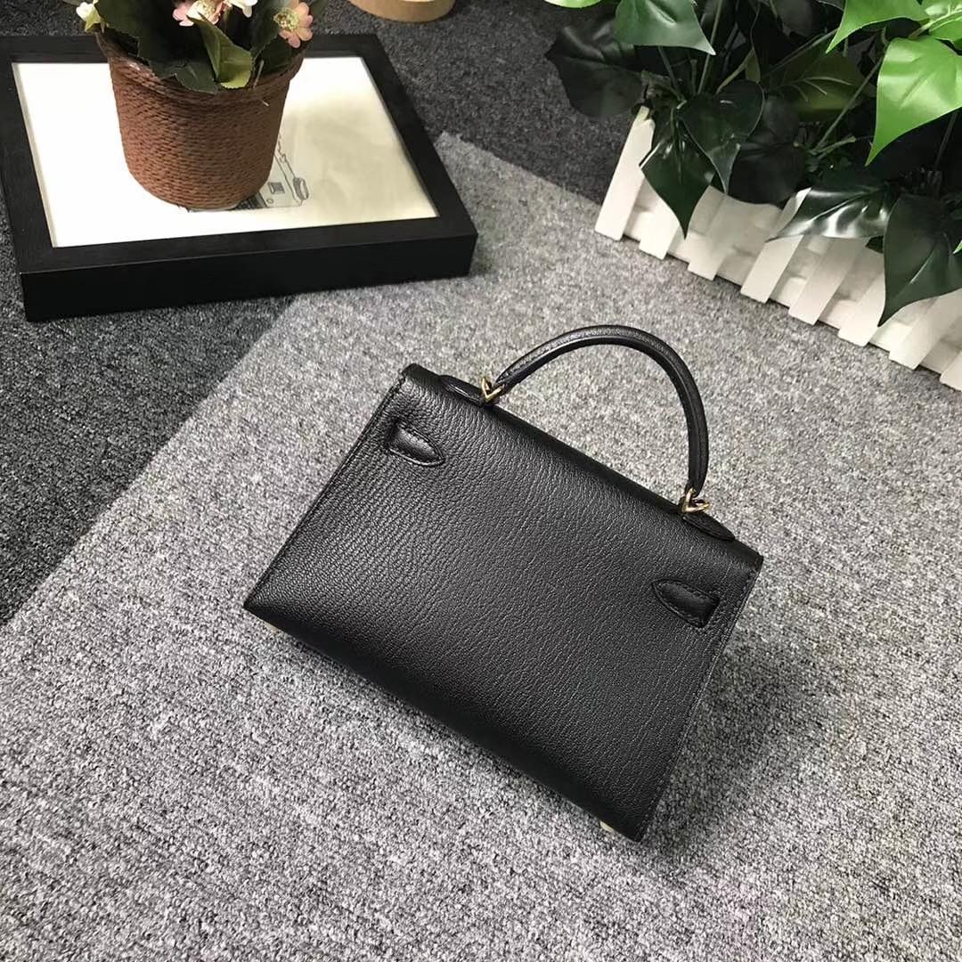 Hermès(爱马仕)CK89 黑色 原厂御用顶级山羊皮 Mini Kelly 二代 金扣