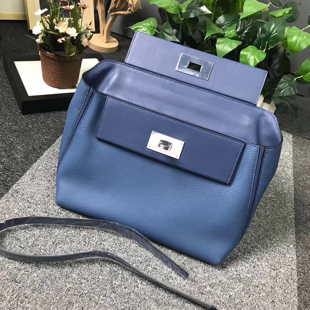 Hermès(爱马仕)R2 玛瑙蓝 原厂御用顶级小牛皮拼Swift 皮 2424 银扣 现货