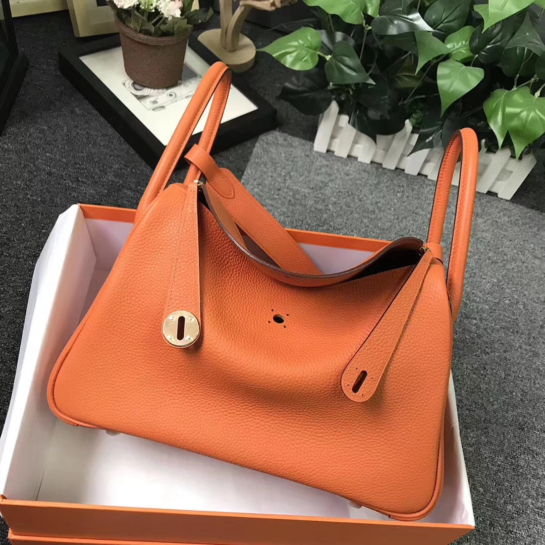 Hermès(爱马仕)橙色 原厂御用顶级TC 皮 Lindy 30 金扣