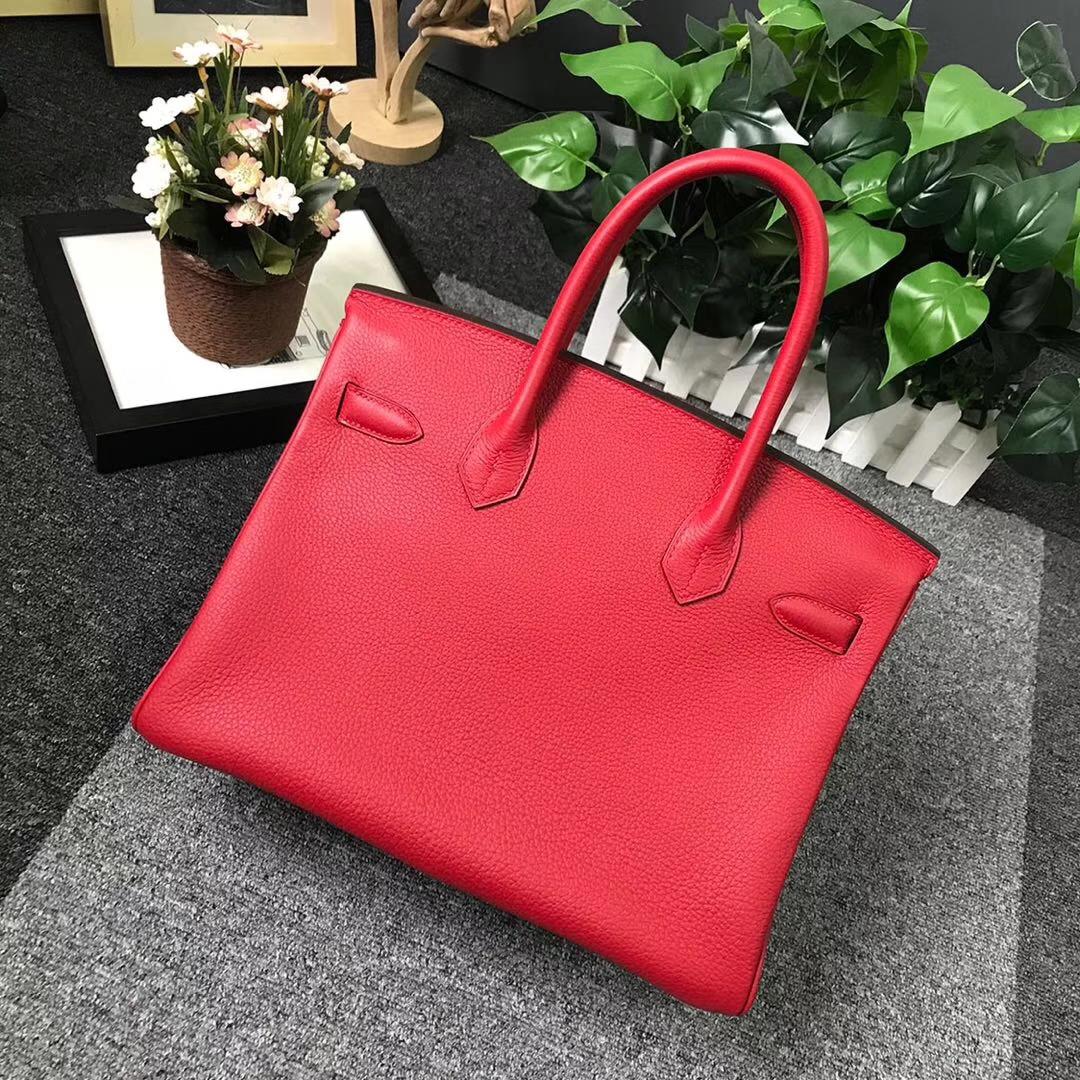 Hermès(爱马仕)Q5 中国红 糖果红 原厂御用顶级小牛皮 Birkin 30 金扣 现货