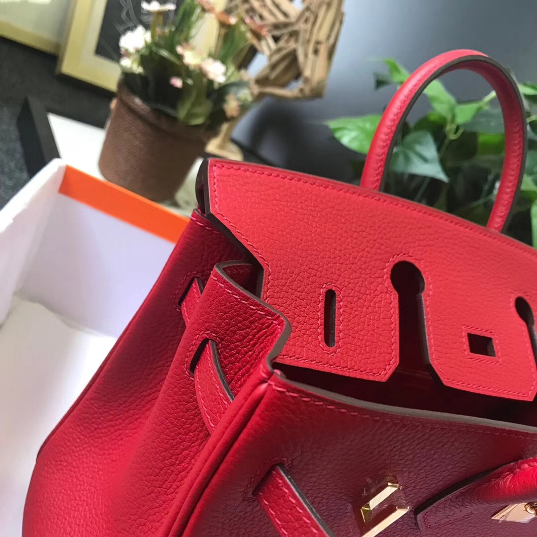 Hermès(爱马仕)Q5 中国红 糖果红 原厂御用顶级小牛皮 Birkin 25 金扣 现货