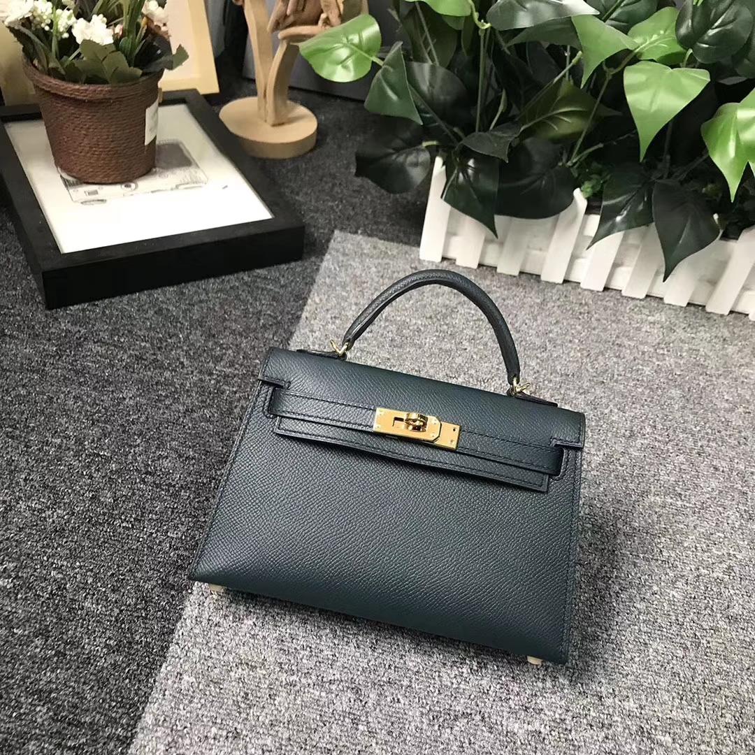 Hermès(爱马仕)6O 松柏绿 顶级精选原版皮 Mini Kelly 二代 金扣 现货