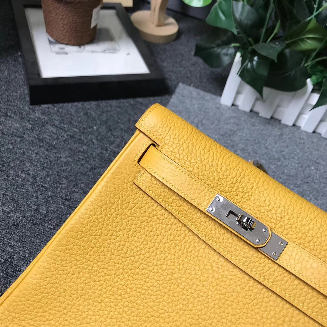 Hermès(爱马仕)9D琥珀黄 原厂御用顶级TC皮 Kelly ado 银扣 现货