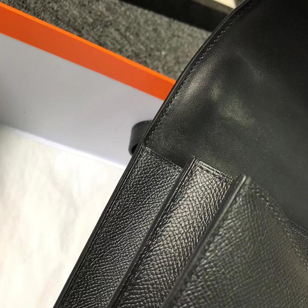 Hermès(爱马仕)Constance空姐包 CK89 黑色 原厂御用顶级Epsom 皮 玫瑰金扣 24cm