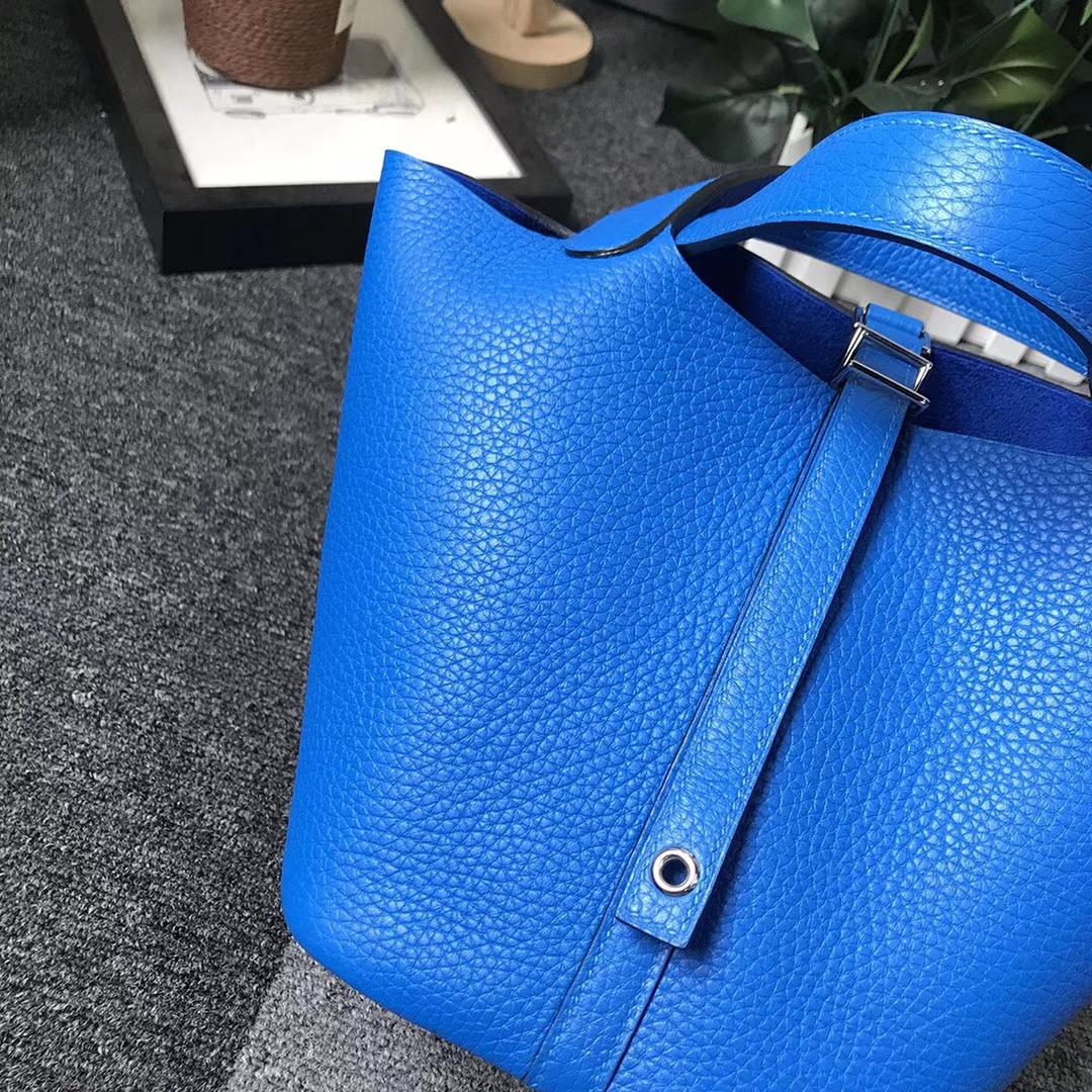 Hermès(爱马仕)Picotin菜篮子包包 水妖蓝 原厂御用顶级TC 皮 Lock 18cm 银扣 现货