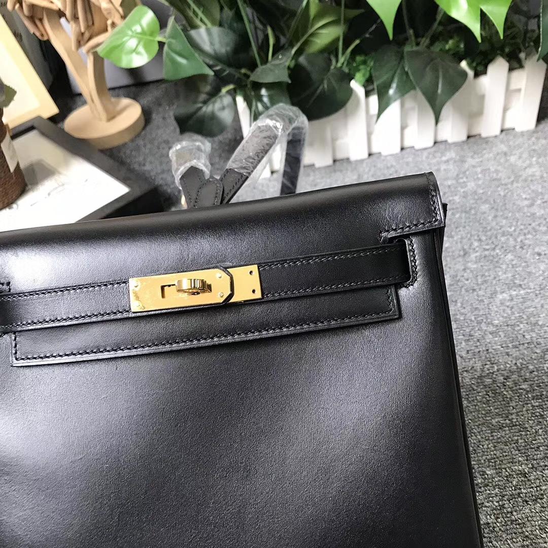 Hermès(爱马仕)CK89 黑色 原厂御用顶级Box 皮 Kelly ado 金扣