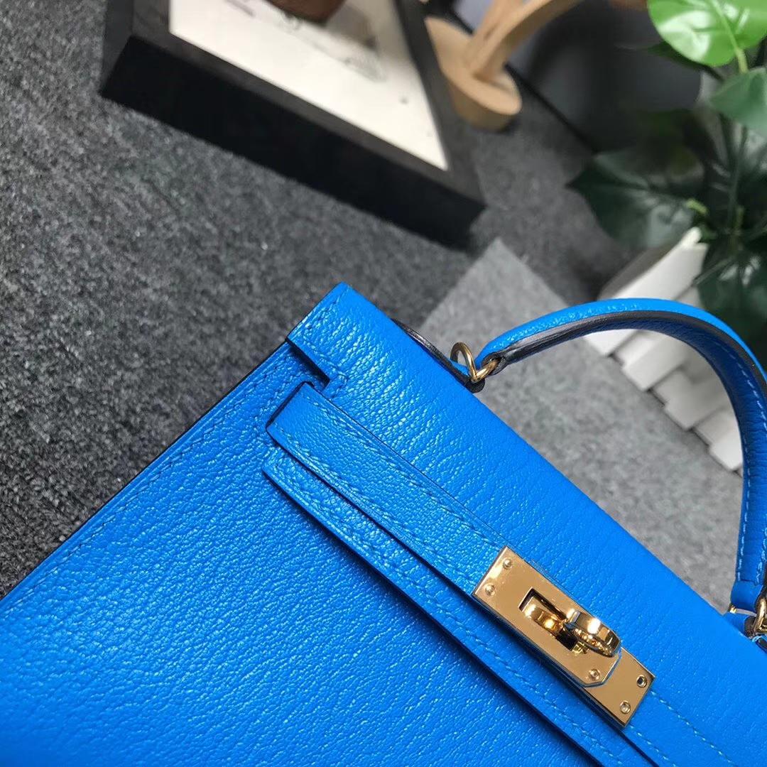 Hermès(爱马仕)迷你凯莉包 水妖蓝 原厂御用顶级山羊皮 Mini Kelly 二代 金扣 现货