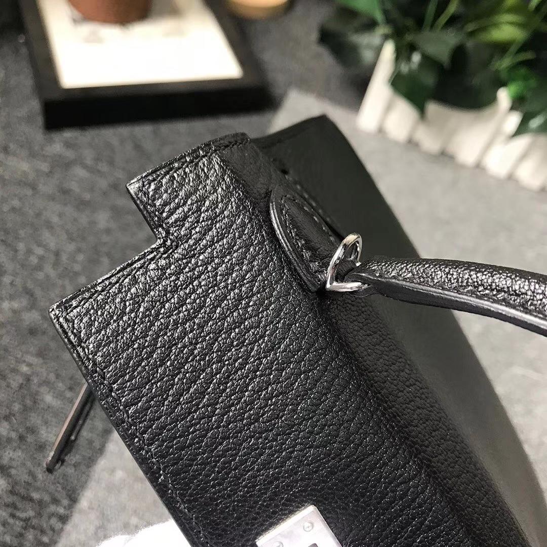Hermès(爱马仕)CK89 黑色 原厂御用顶级山羊皮 Mini Kelly 二代 金扣 现货