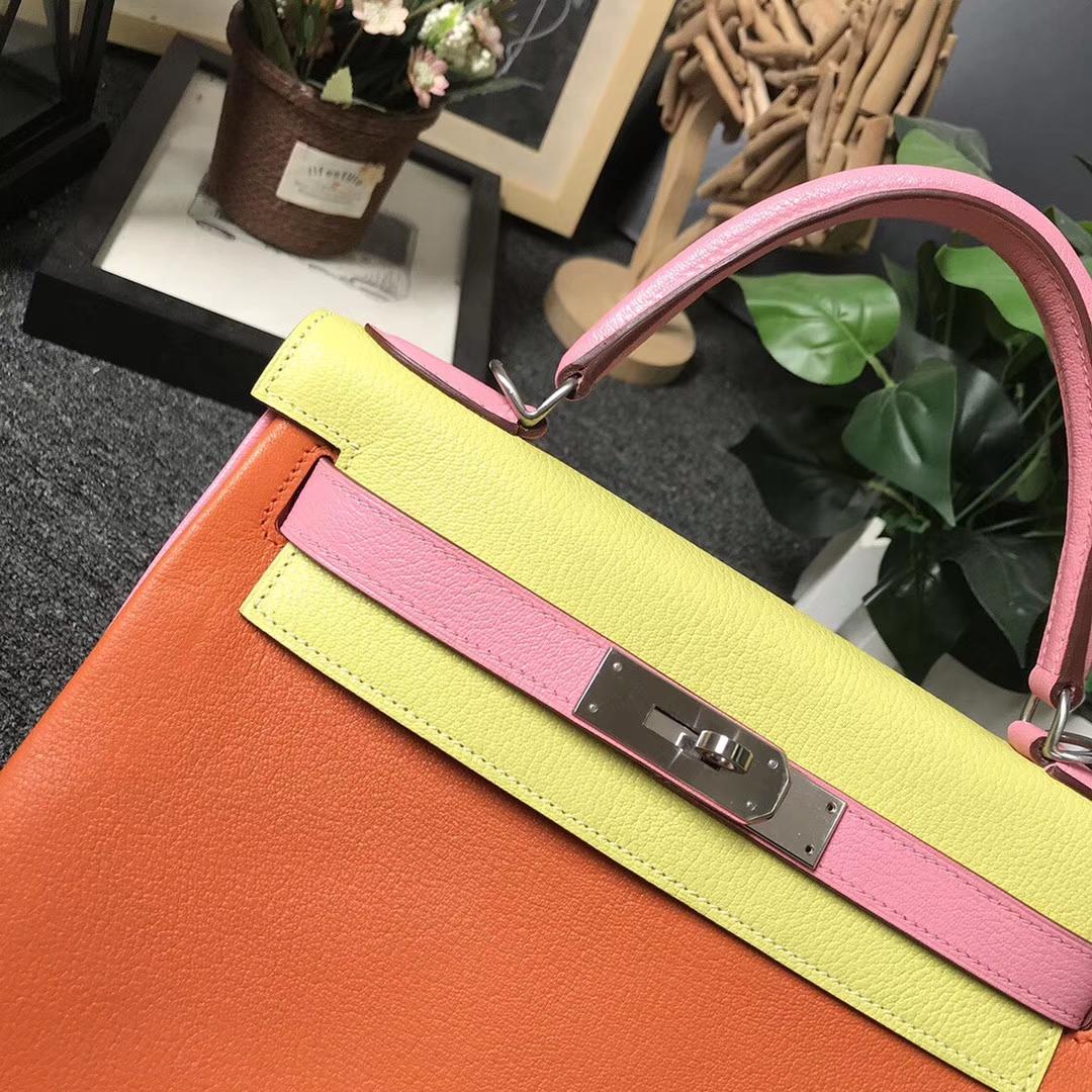 Hermès(爱马仕)经典橙色拼C9鹅蛋黄拼1Q奶昔粉 原厂御用顶级山羊皮 Kelly 28 内缝 银扣