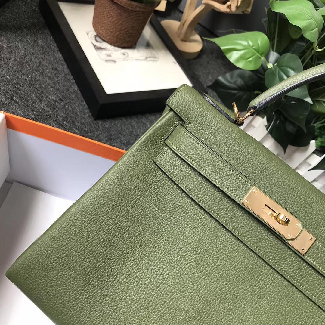 Hermès(爱马仕)V6 丛林绿 原厂御用顶级小牛皮 Kelly 28 金扣 现货