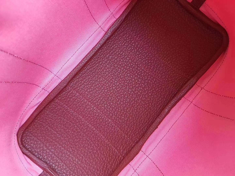 Hermès(爱马仕)Garden Party花园包 帆布拼牛皮 8w新唇膏粉拼爱马仕红 30Cm