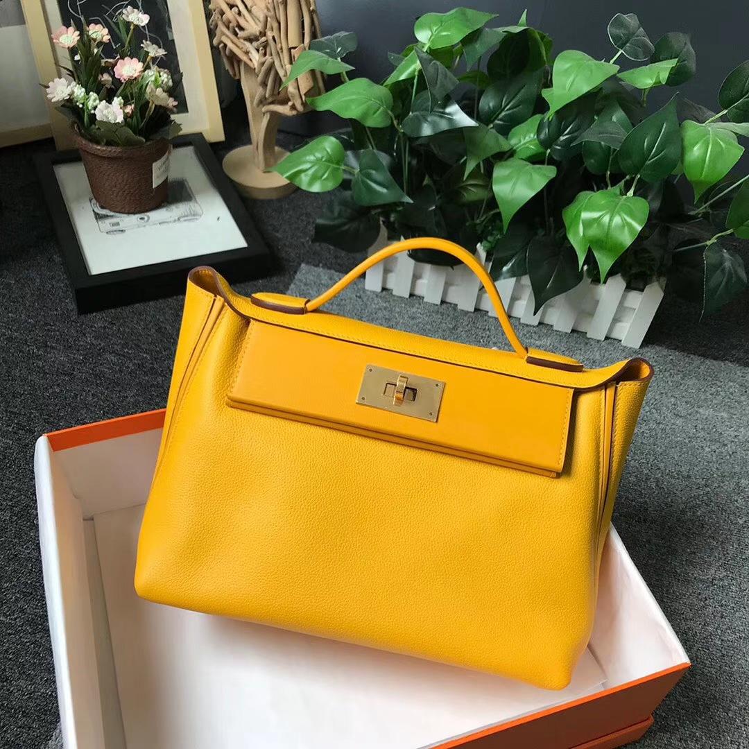 Hermès(爱马仕)9D琥珀黄 原厂御用顶级小牛皮拼Swift 2424 金扣 现货