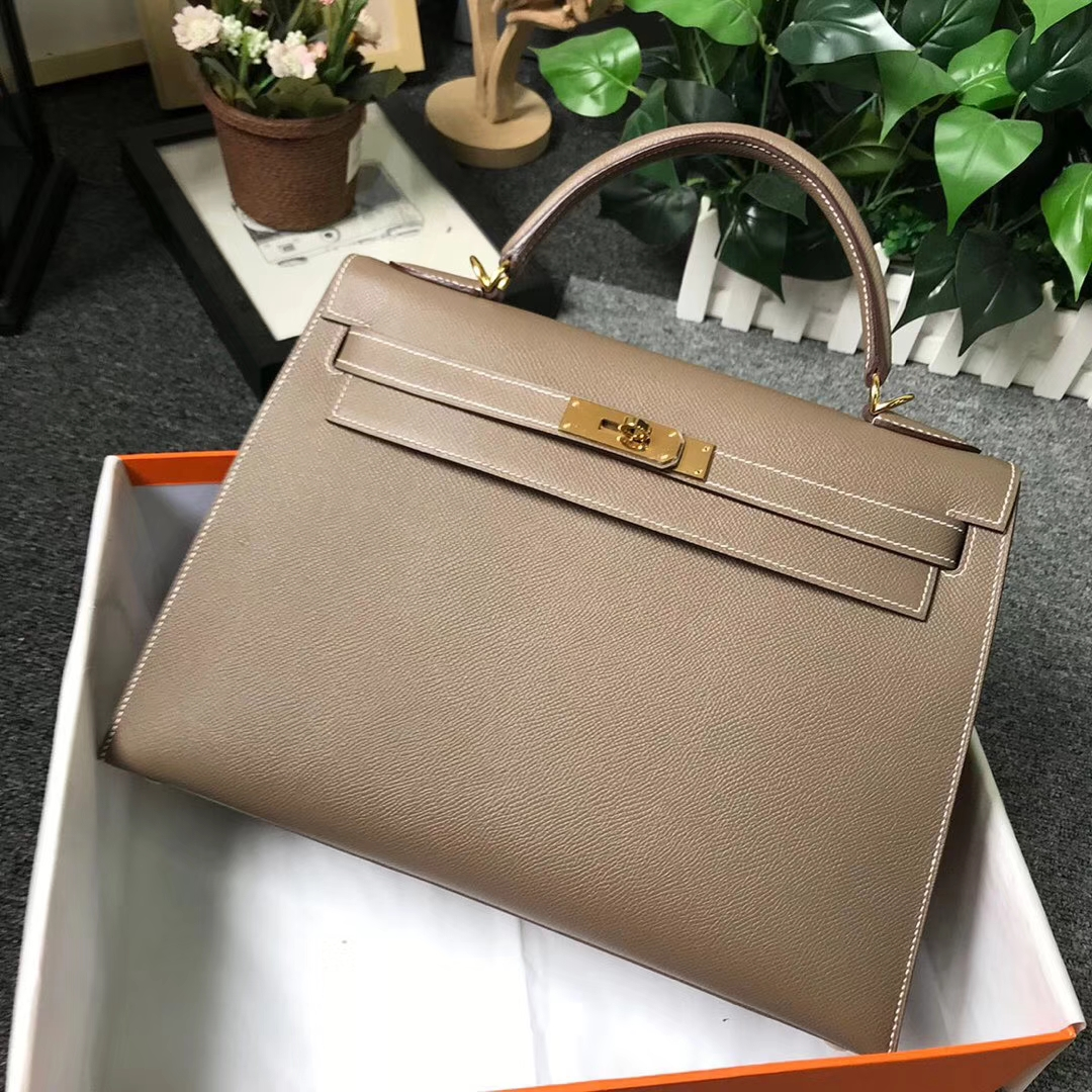Hermès(爱马仕)CK18 大象灰 原厂御用顶级Epsom 皮 Kelly 32 外缝 金扣