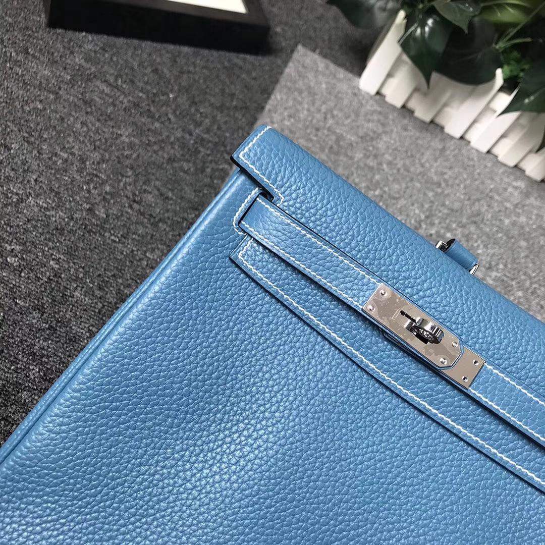 Hermès(爱马仕)牛仔蓝 原厂御用顶级TC 皮 Kelly ado 银扣 现货