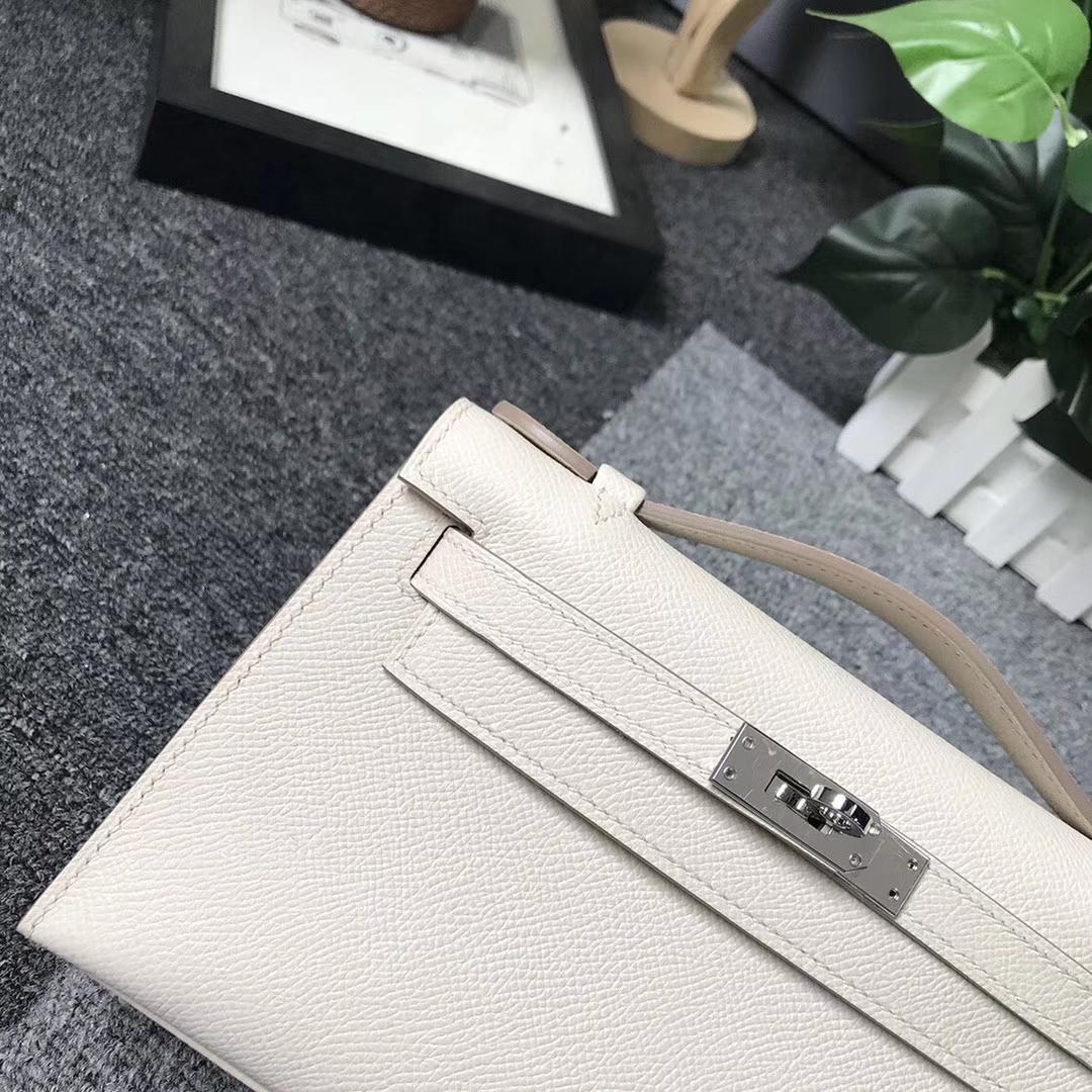 Hermès(爱马仕)奶昔白 原厂御用顶级Epsom 皮 Mini Kelly 银扣 现货
