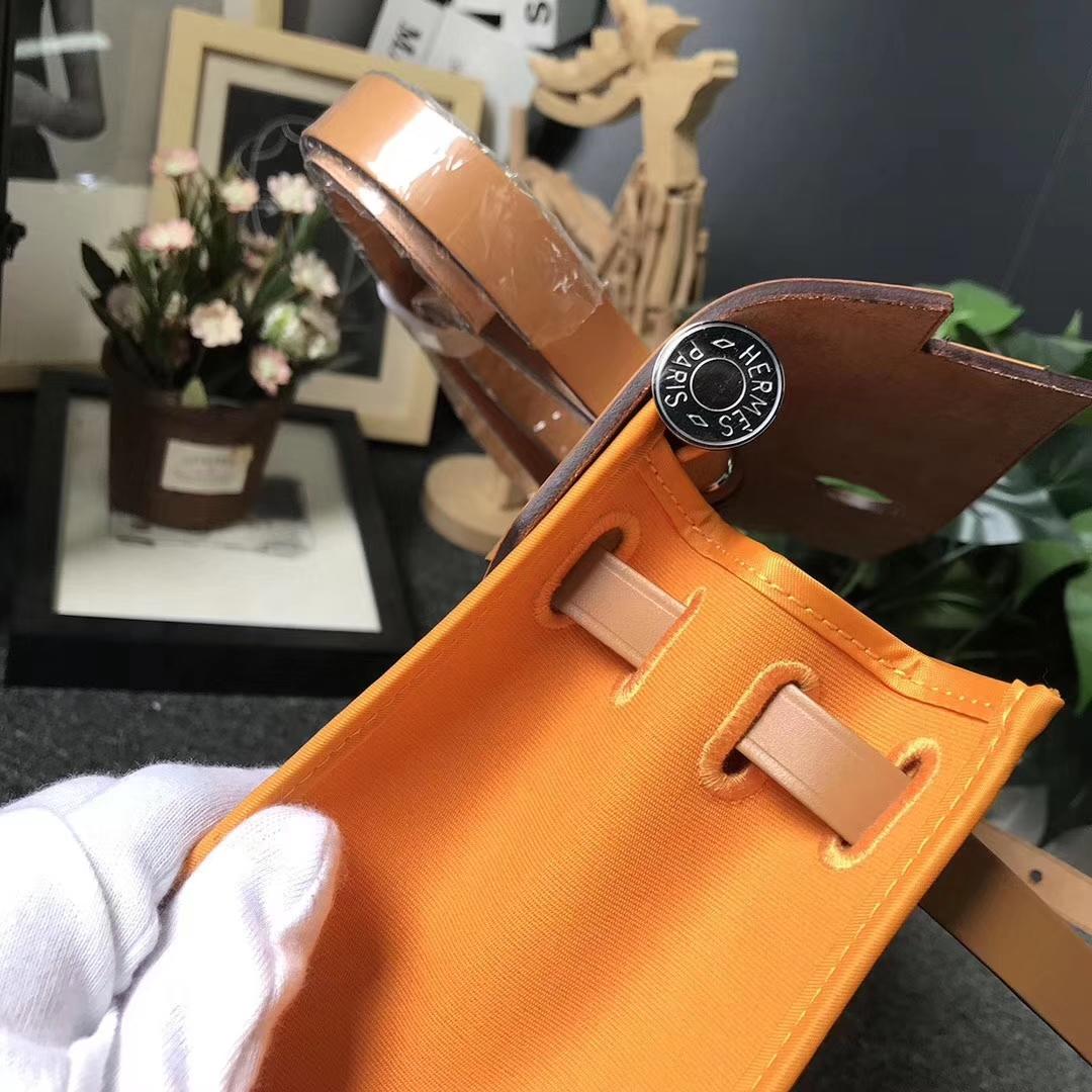 Hermès(爱马仕)金棕色马鞍皮拼橙色帆布 Herbag 31 现货