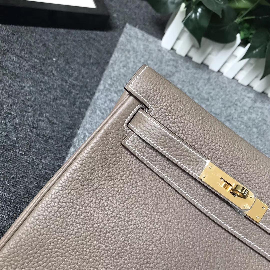 Hermès(爱马仕)CK18 大象灰 原厂御用顶级TC 皮 Kelly ado 金扣 银扣 现货