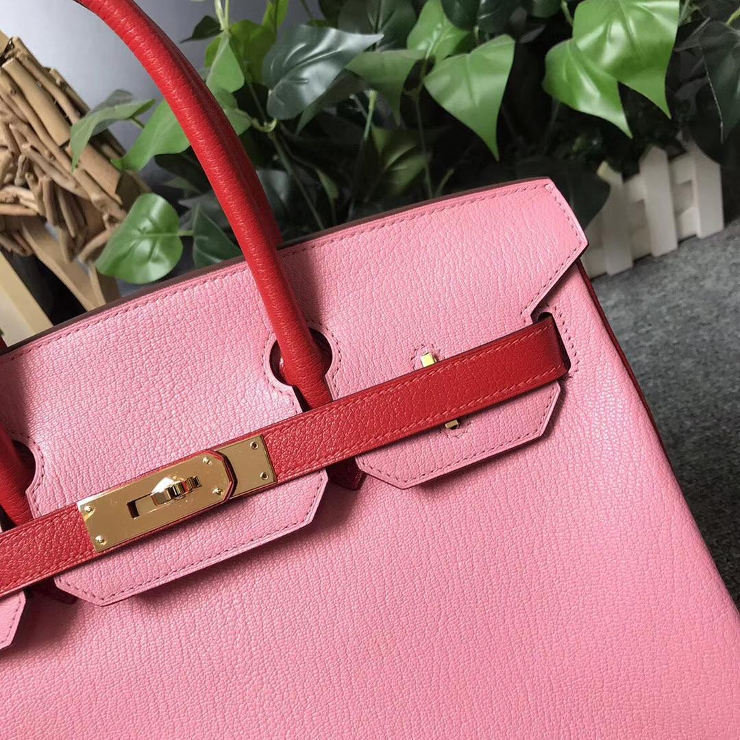Hermès(爱马仕)1Q奶昔粉拼S5番茄红 原厂御用顶级山羊皮 Birkin 30 金扣