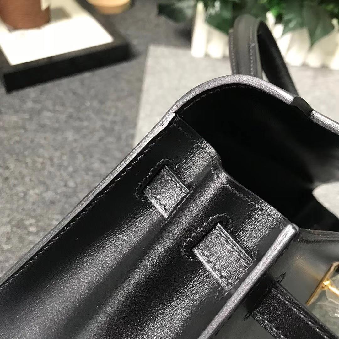 Hermès(爱马仕)黑色 原厂御用顶级Box 皮 Kelly 25 外缝 金扣