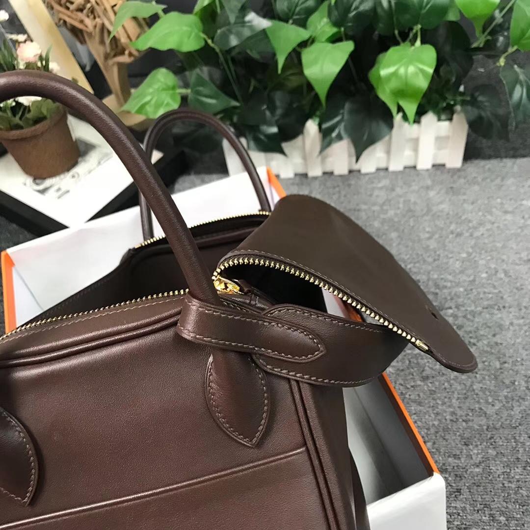 Hermès(爱马仕)Lindy琳迪包 深咖啡 原厂御用顶级Swift 皮 30 金扣 现货