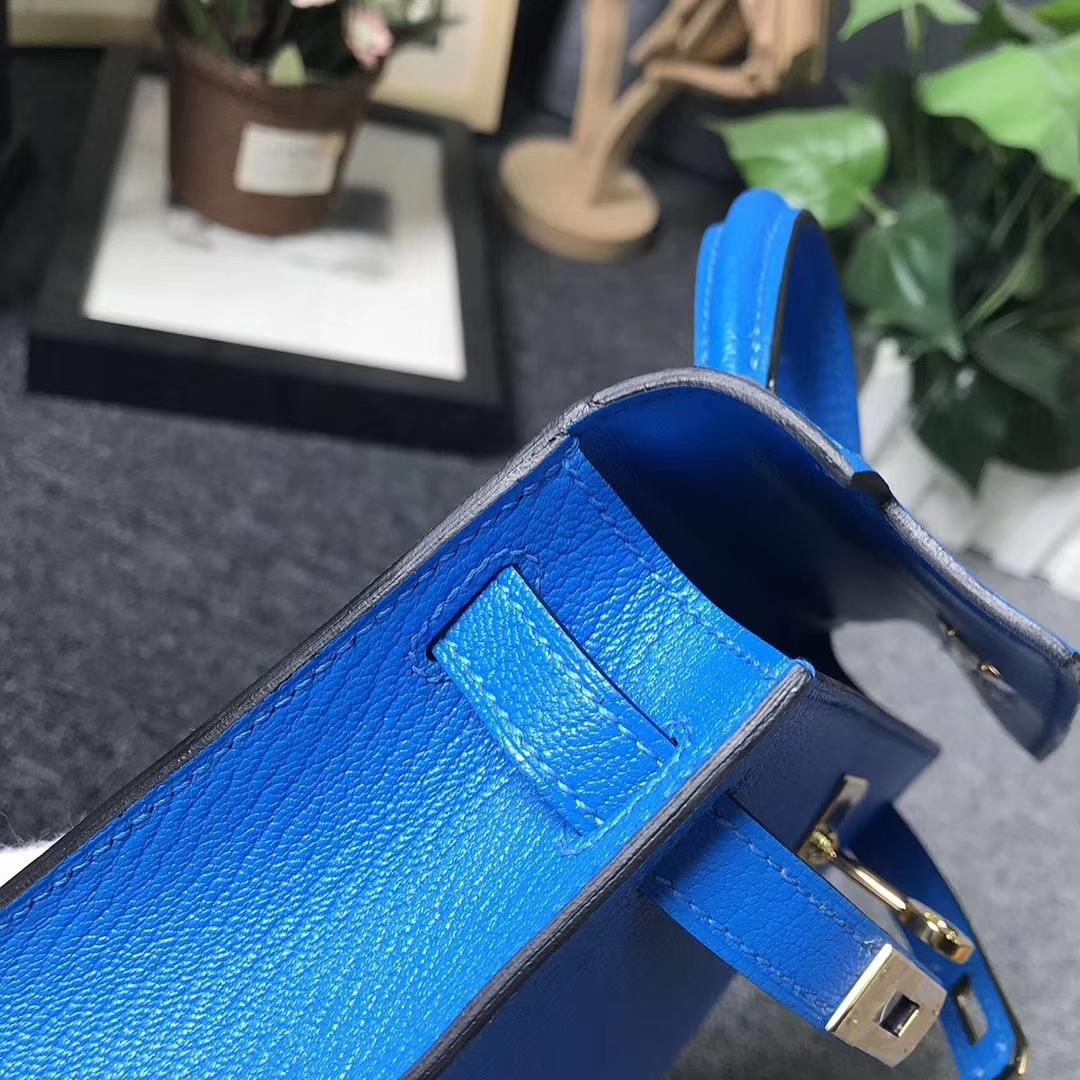 Hermès(爱马仕)水姚蓝 原厂御用顶级山羊皮 Mini Kelly 二代 金扣 现货