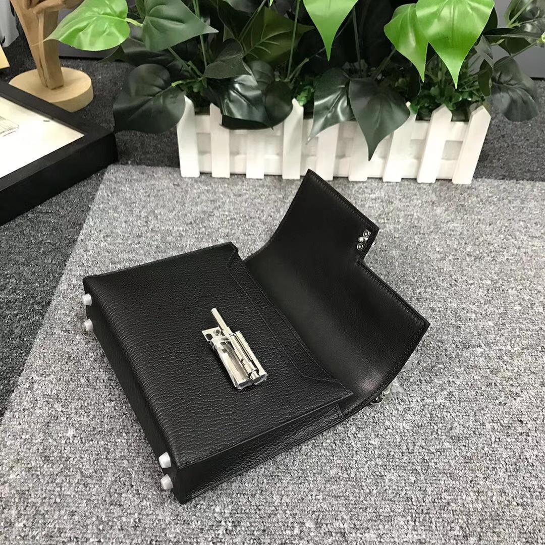 Hermès(爱马仕)CK89 黑色 原厂御用顶级山羊皮 Verrou 插销包 现货