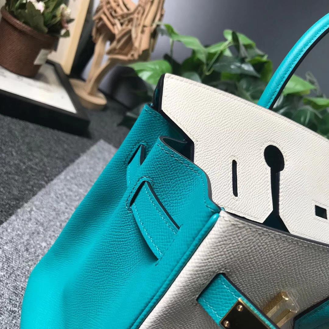 Hermès(爱马仕)奶昔白拼7F孔雀蓝 原厂御用顶级Epsom 皮 Birkin 30 金扣