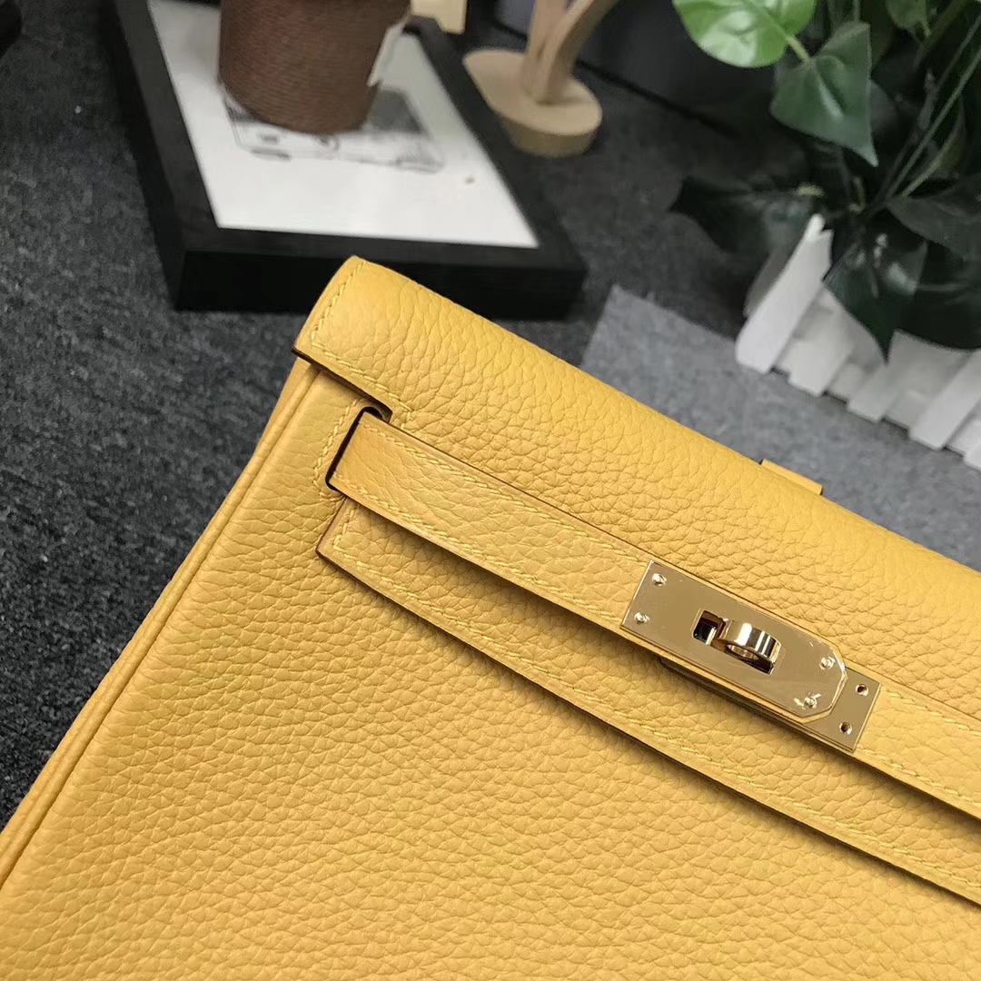 Hermès(爱马仕)9D琥珀黄 原厂御用顶级TC 皮 Kelly ado 金扣 现货