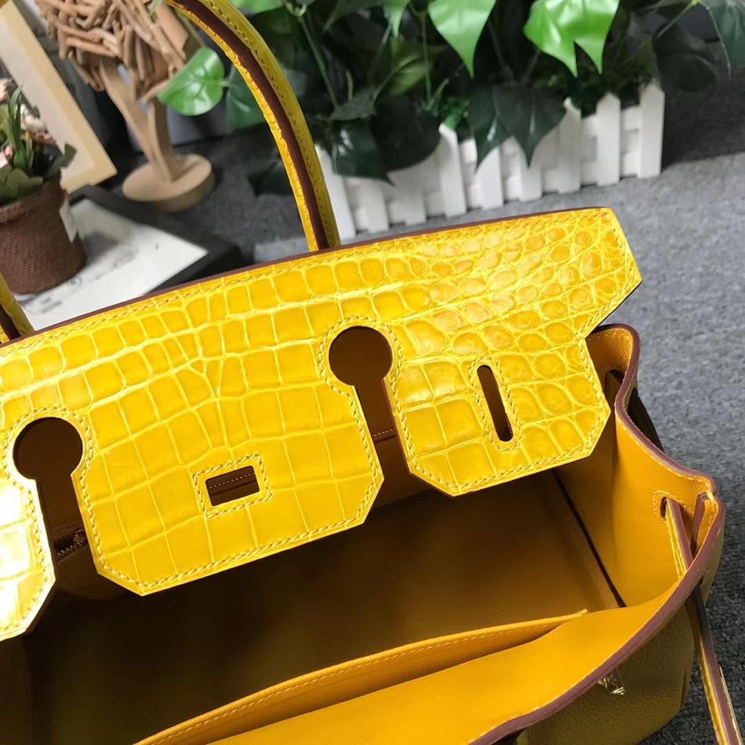 Hermès(爱马仕)9D琥珀黄 原厂御用顶级小牛皮拼鳄鱼皮 Birkin 30 金扣