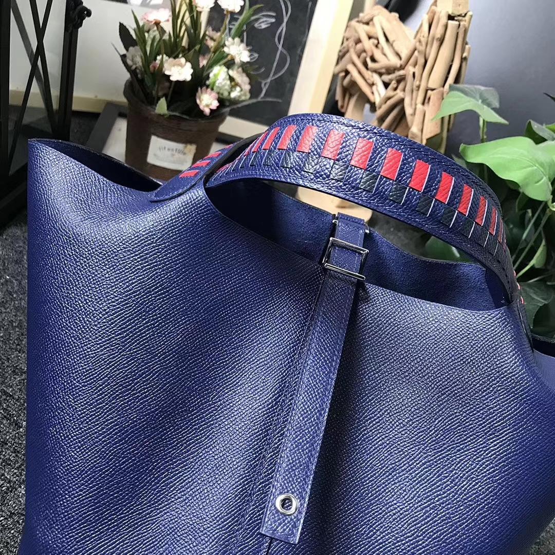 Hermès(爱马仕)7K宝石蓝 编织手腕 原厂御用顶级Epsom 皮 Picotin  Lock 22cm 银扣