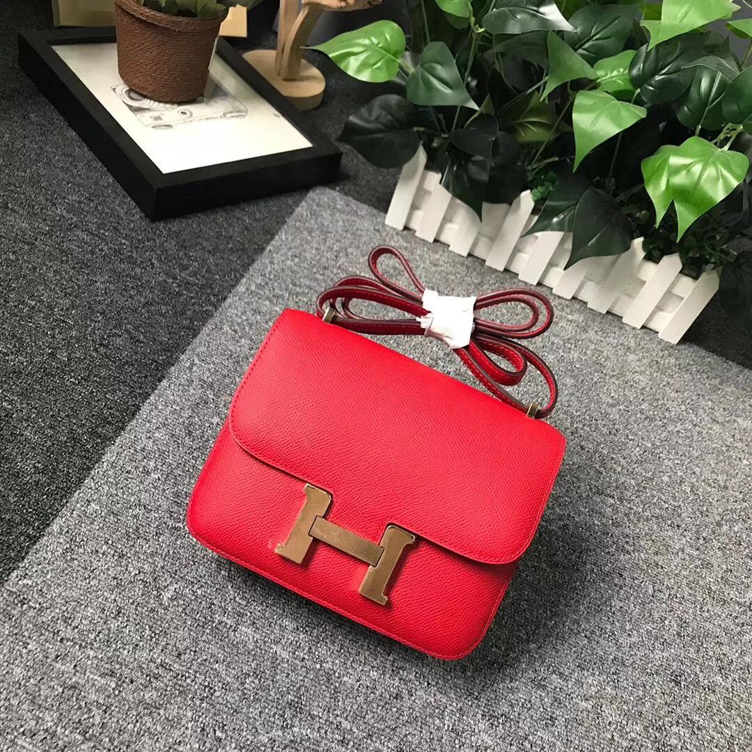 Hermès(爱马仕)Q5 中国红 糖果红 原厂御用顶级Epsom 皮 Constance 19 金扣 现货