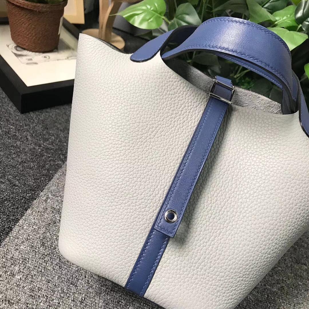 Hermès(爱马仕)海鸥灰拼玛瑙蓝 原厂御用顶级TC 皮 Picotin  Lock 18cm 银扣
