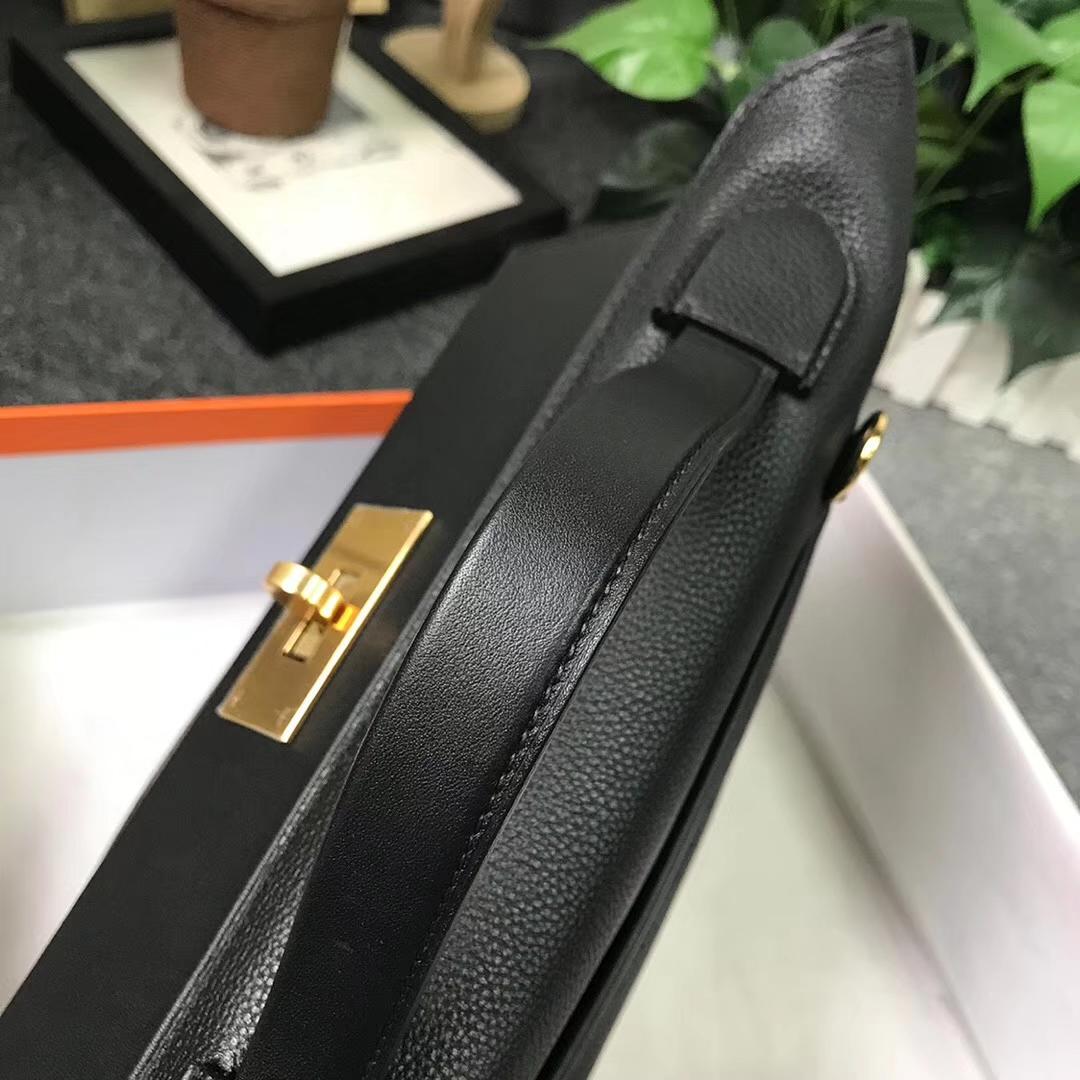 Hermès(爱马仕)黑色 原厂御用顶级小牛皮拼Swift 皮 2424 金扣 现货