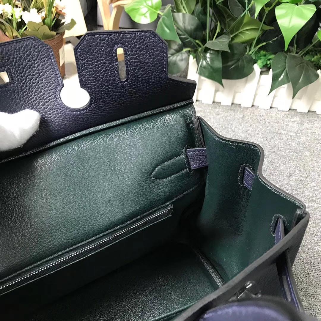 Hermès(爱马仕)午夜蓝拼英国绿 原厂御用顶级小牛皮拼Swift 皮 Birkin 30 银扣