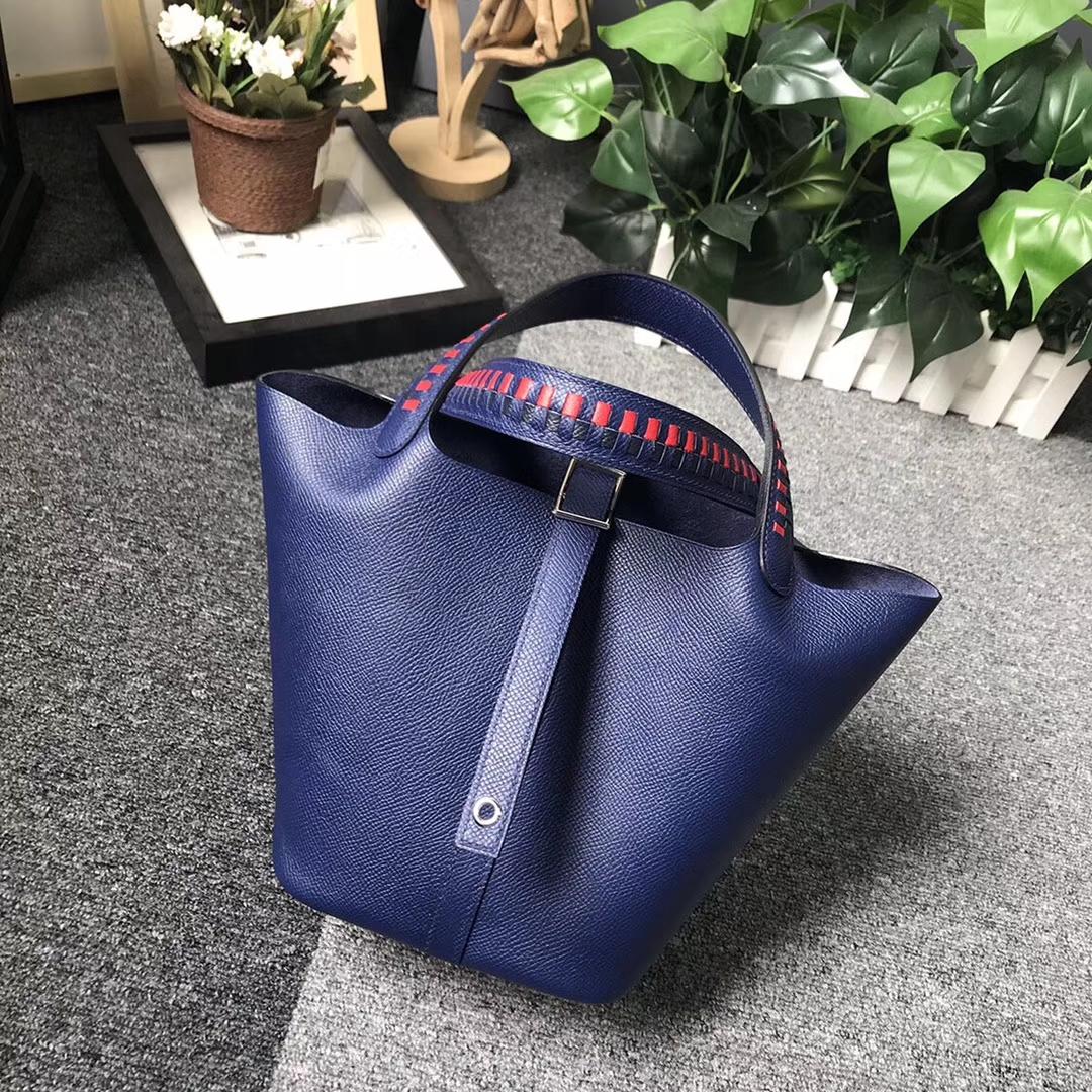 Hermès(爱马仕)琉璃蓝 编织手腕 原厂御用顶级Epsom 皮 Picotin  Lock 18cm 银扣