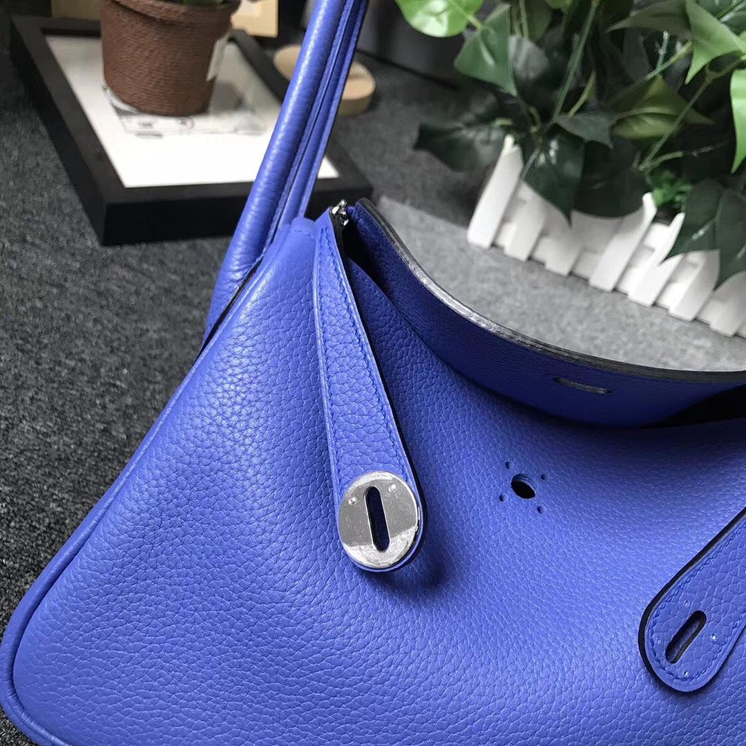 Hermès(爱马仕)明蓝色 原厂御用顶级TC 皮 Lindy 26 银扣 现货