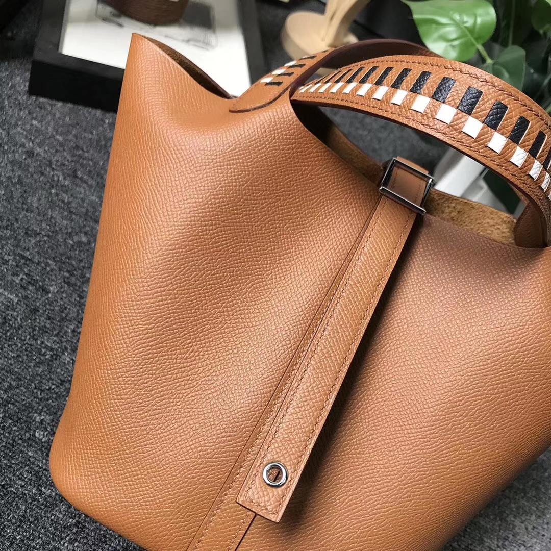 Hermès(爱马仕)C37 金棕色 编织手腕 原厂御用顶级Epsom 皮 Picotin  Lock 18cm 银扣