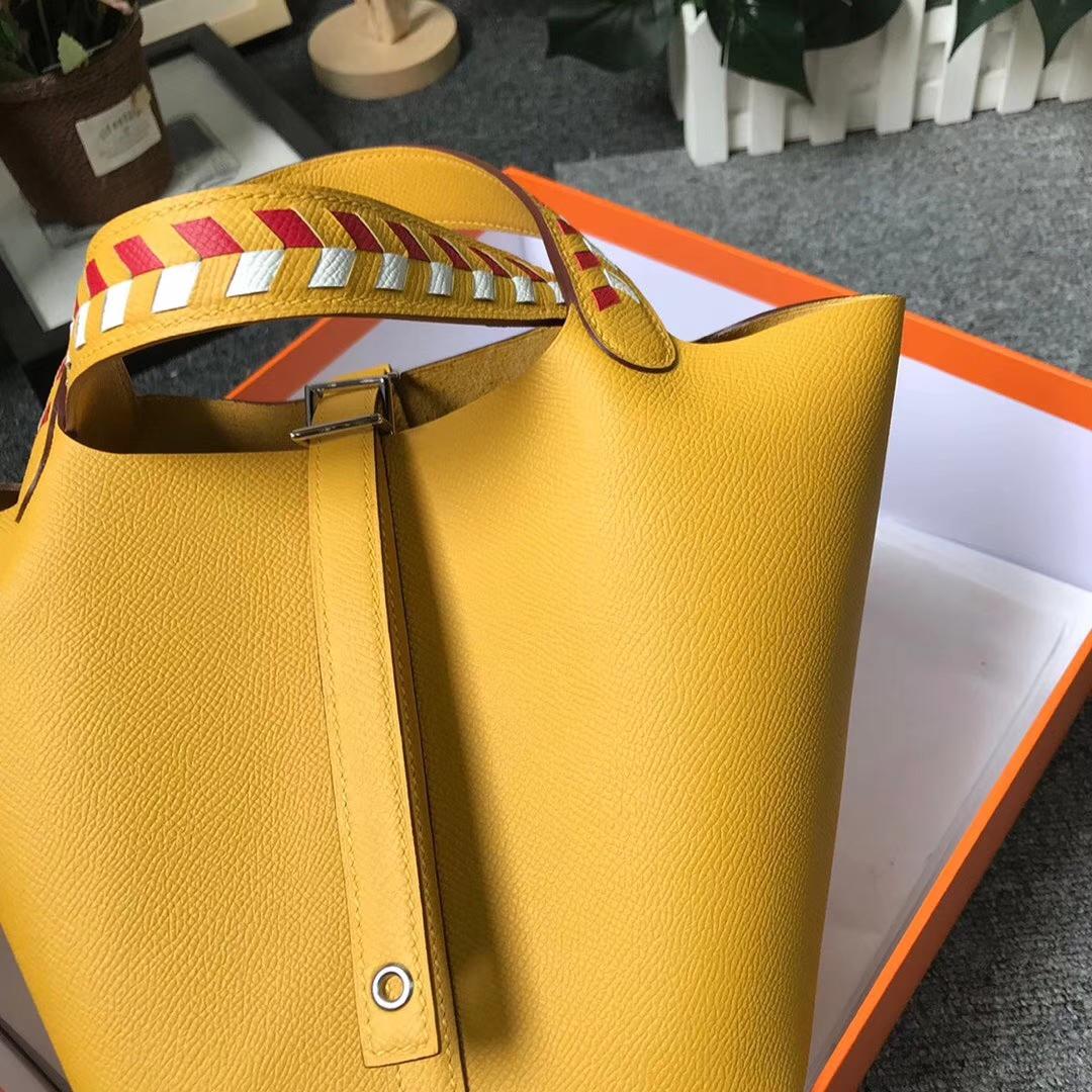 Hermès(爱马仕)9D琥珀黄 编织手腕 原厂御用顶级Epsom 皮 Picotin Lock 18cm 银扣