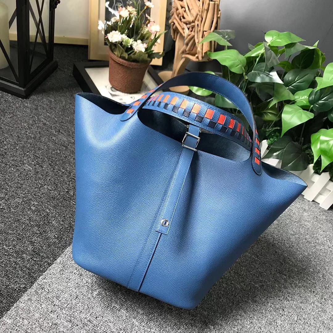 Hermès(爱马仕)R2 玛瑙蓝 编织肩带 原厂御用顶级Epsom 皮 Picotin  Lock 22cm 银扣